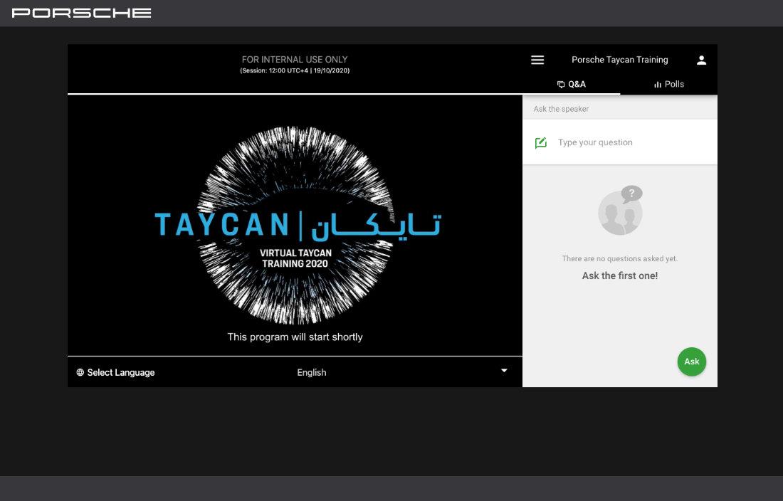 porsche tycan virtual training live event live stream