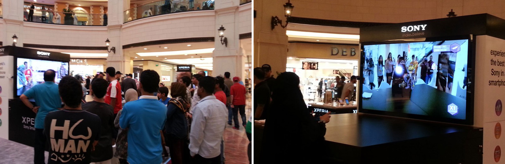 sony augmented reality game in the mall of the emirates