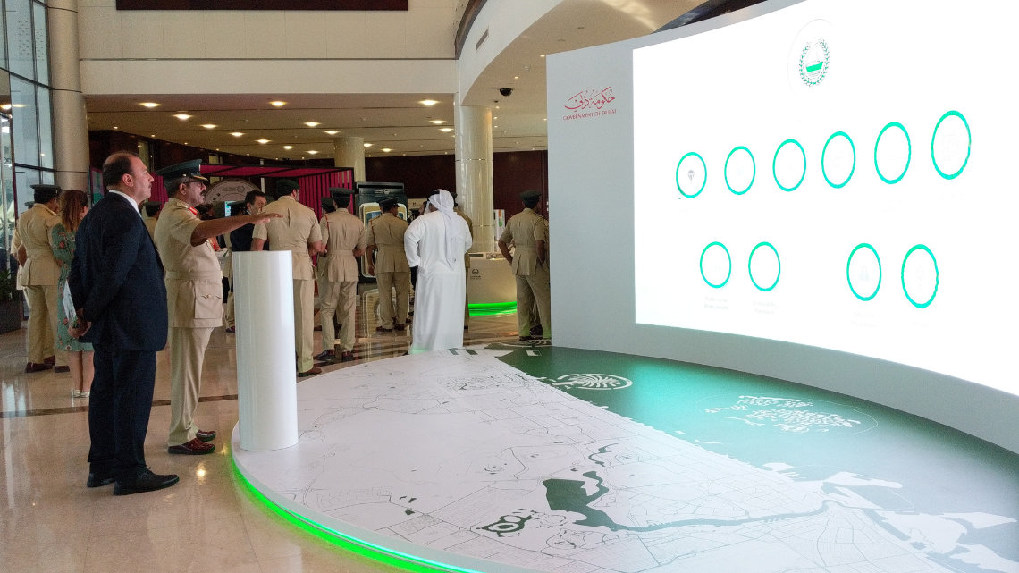Gesture Technology Example -  dubai police gesture based interactive installation